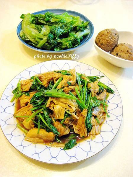 脆瓜肉球+香菜豆皮+清燙萵苣