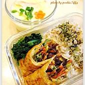 鯛魚茶碗蒸+什錦豆包捲+清燙A菜+涼拌小黃瓜