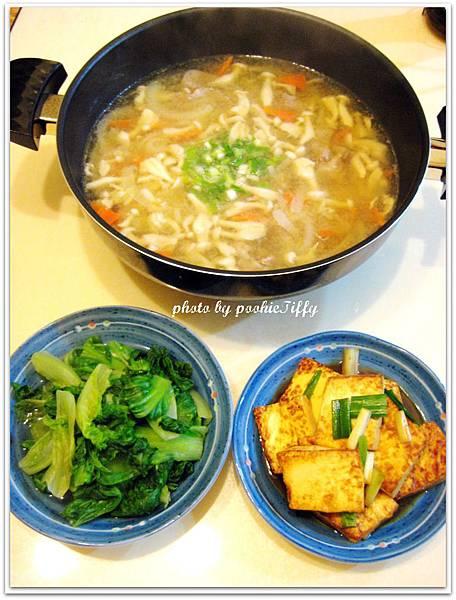 味噌豚汁+紅燒豆腐+燙青菜
