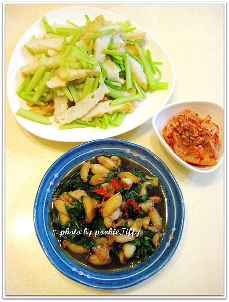塔香蟹管肉+花枝甜不辣炒芹菜+韓式泡菜