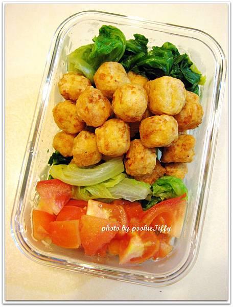 香酥雞米花+燙青菜