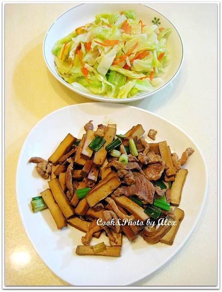 水炒高麗菜+豆干炒肉絲 cook by Alex