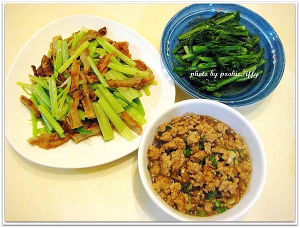 螞蟻上樹+燙A菜+牛蒡甜不辣炒芹菜