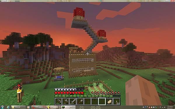 在另一個多人server裡蓋的小屋