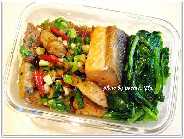 辣炒冬粉+嫩煎鮭魚排+水炒波菜