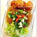 蒜炒蘿蔓+辣味粉絲+烤花枝丸
