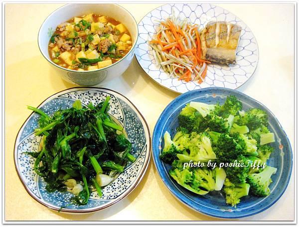 微辣麻婆豆腐+蒜味豆苗+清燙花椰菜+乾煎白帶魚+雙色牛蒡絲