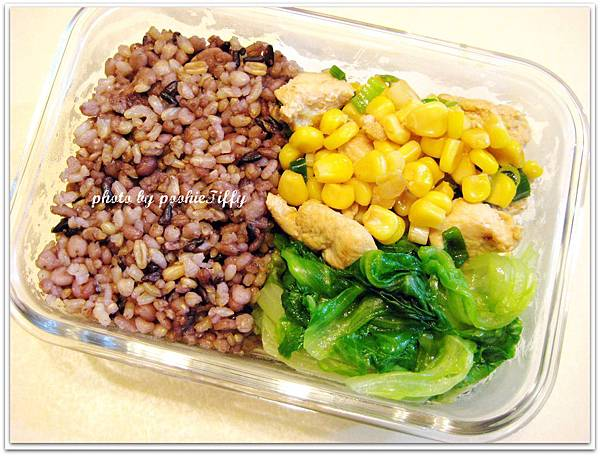 玉米雞丁+清燙大陸妹+十穀飯