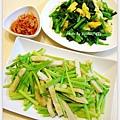 波菜炒蛋+芹菜甜不辣+韓式泡菜