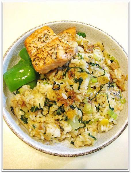 上海菜飯+香料烤鮭魚+清燙青椒