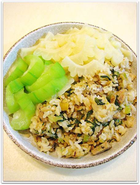 上海菜飯+水炒苦瓜+清燙絲瓜