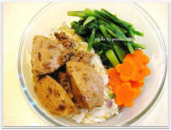 滷肉飯+滷貢丸+燙青菜