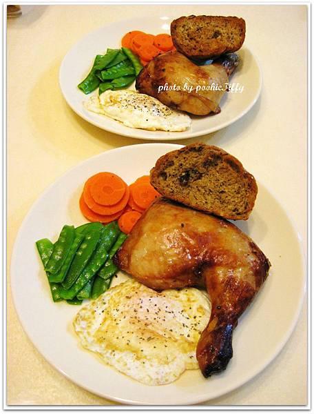 烤雞腿+清燙紅蘿蔔+清燙荷蘭豆+嫩煎荷包蛋+雜糧五穀麵包烤手工香蒜奶油醬