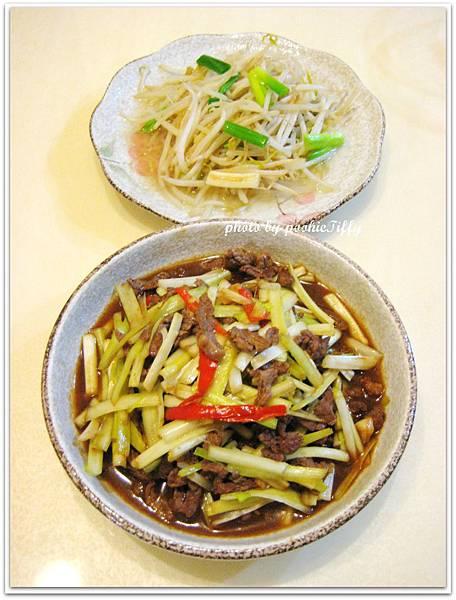 韭黃炒牛肉+清炒豆芽菜
