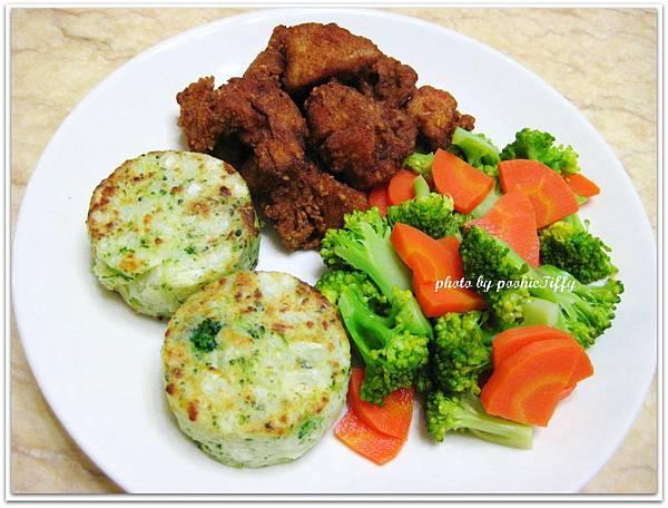 繼光香香雞+清燙花椰菜紅蘿蔔+馬玲薯蔬菜餅