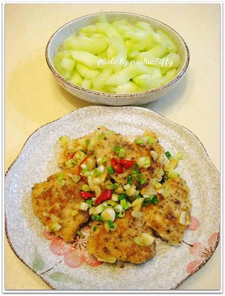 嫩煎香辣雞胸+水炒大黃瓜