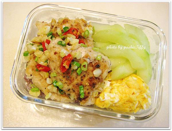煎香辣雞胸+水炒大黃瓜+炒蛋