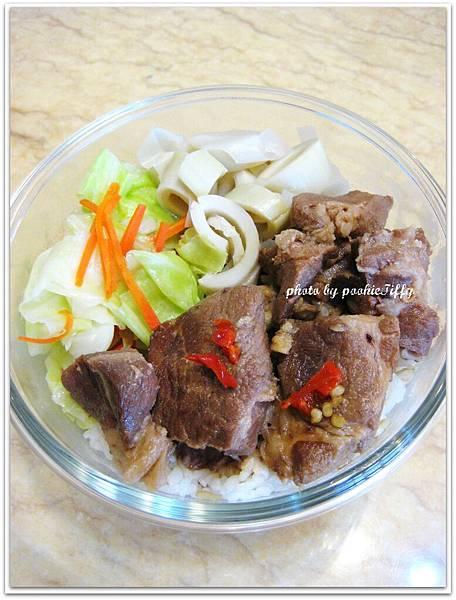 香辣滷肉+清炒高麗菜+清燙筍