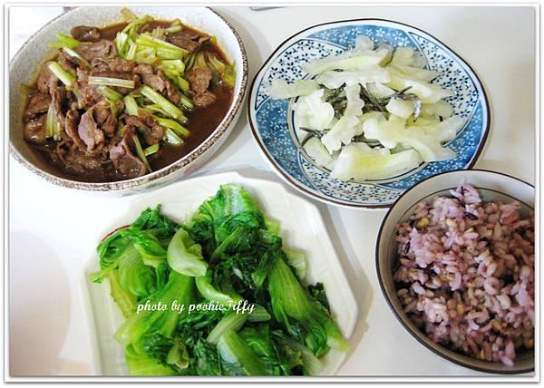 韭黃牛肉+清燙大陸妹+清炒苦瓜小魚干