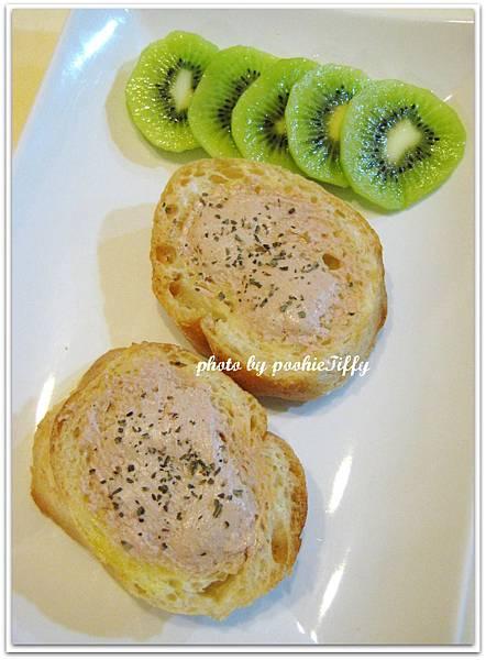 【原味法國麵包佐羅勒鹹味奶油鵝肝醬】
