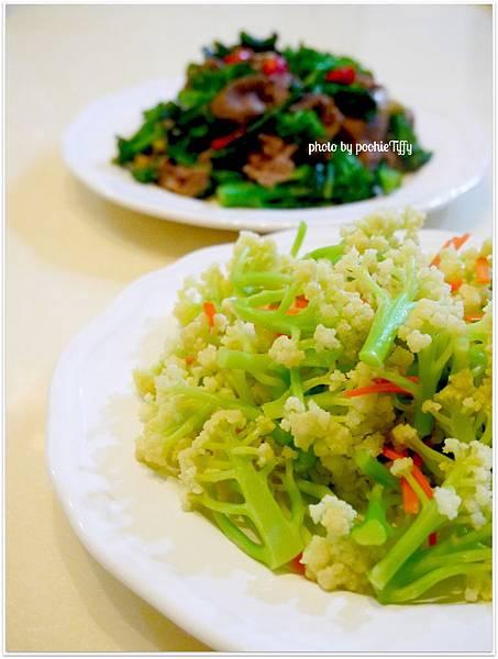 【芥藍菜花炒牛肉。清燙白花椰】