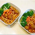 【茄汁脆腸肉球通心麵。清燙花椰菜】