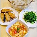 【乾煎土馲魚。清炒波菜。蕃茄炒蛋。菜頭魚丸湯】
