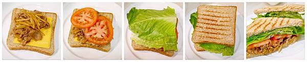 「日式豬肉牛蒡絲三明治」牛蒡/豬肉片/牛番茄/羅蔓葉/起司/全麥土司