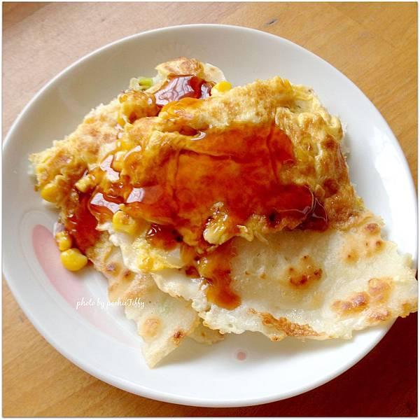 「自製蔥花玉米蛋餅」