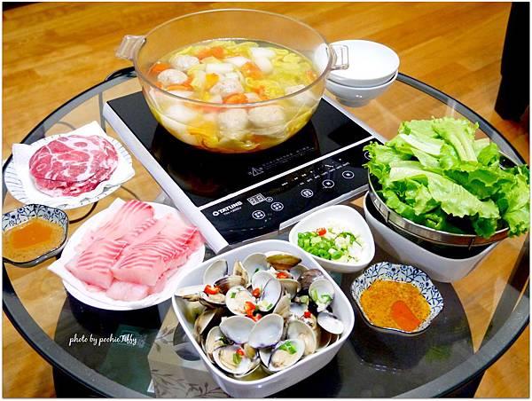 「豬肉鯛魚蔬菜火鍋」