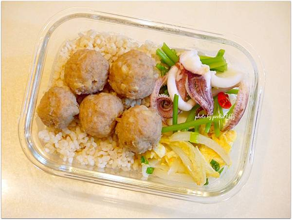 No.7 「蔭瓜肉丸子。芹菜花枝。洋蔥炒蛋。糙米飯」