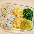 No.19「上海菜飯。滑蛋蝦仁。清炒高麗菜。清燙莧菜」