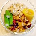No.22「宮保雞丁。清燙秋葵。黃肉地瓜。糙米飯」