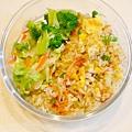 No.23「櫻花蝦糙米炒飯。清燙花椰菜。清炒高麗菜」