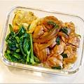 No.27「雙蔥燒雞腿。蔥蛋。清炒高山豆苗。糙米飯」