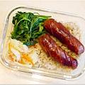 No.41「黑豬肉香腸。清燙大豆苗。清炒高麗菜。糙米飯」