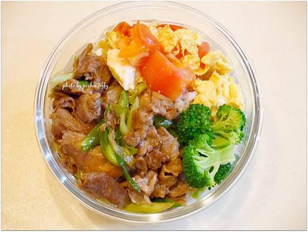 No.53「蒜苗炒豬肉。蕃茄炒蛋。清燙花椰菜」