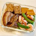 No.65「魯焢肉。魯豆腐。甜豆夾炒大蝦。清蒸南瓜」