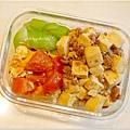 No.90「肉末燒豆腐。蕃茄炒蛋。清炒絲瓜。糙米飯」