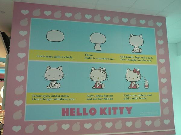另外兒童遊戲區的牆壁上有教你怎麼畫kitty