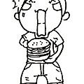 大口吃漢堡