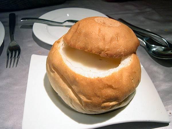 法式麵包玉米濃湯