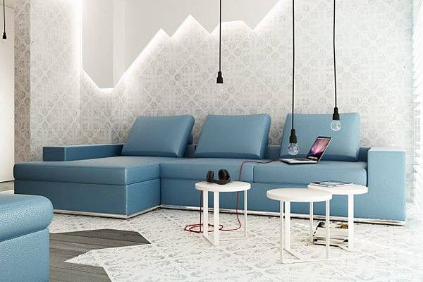 Blue-L-shaped-sofa-exposed-bulb-lighting-feature-665x443