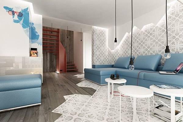 Blue-Brown-white-modern-living-room-665x443
