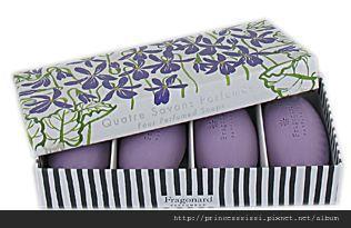 savon galet coffret 4 violettes