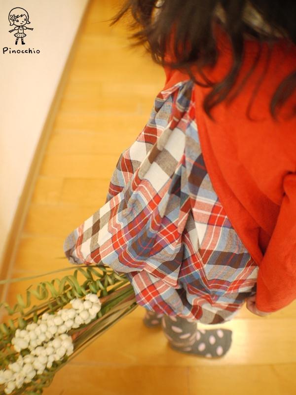 [鄉村風]拼接橘色傘狀上衣(可當裙子)