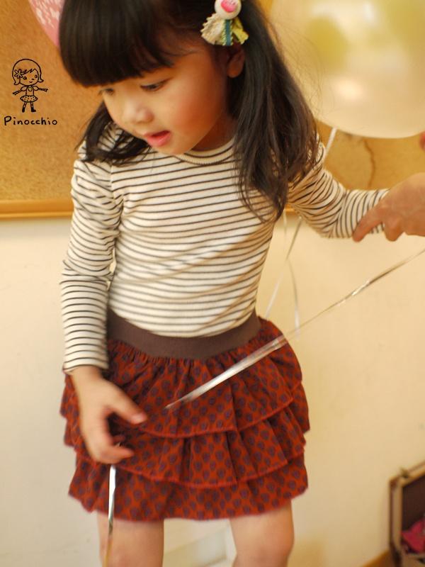[小香公主風]條紋蛋糕連身裙(附小香風珍珠項鍊,可拆)