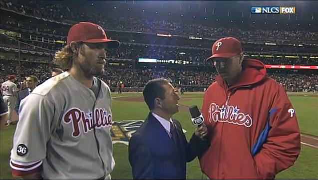 2010 NLCS G5 Halladay and Werth.jpg