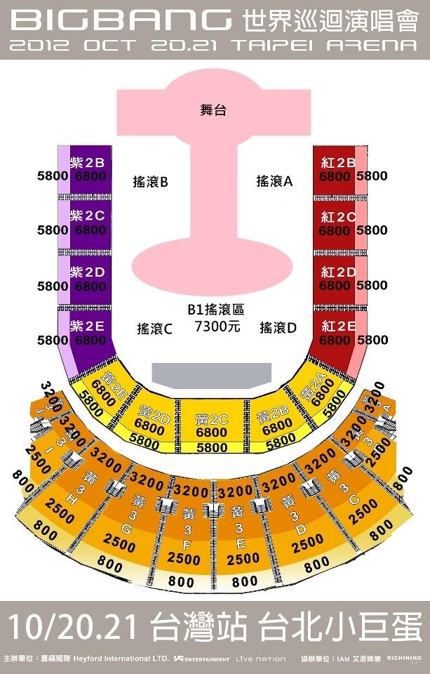 台北小巨蛋票價與座位圖