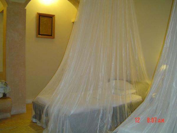 vila~~進房後每張床都有夢幻白紗紋帳